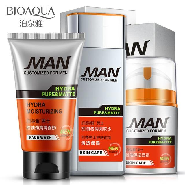 Мужчины Глубоко Очищающий Cleanser + Тонер + Эмульсия Мужчины Уход За Кожей Лица 3 шт./компл. Увлажняющий Увлажняющий Контроля Уровня Масла Освежающий Уход За Кожей