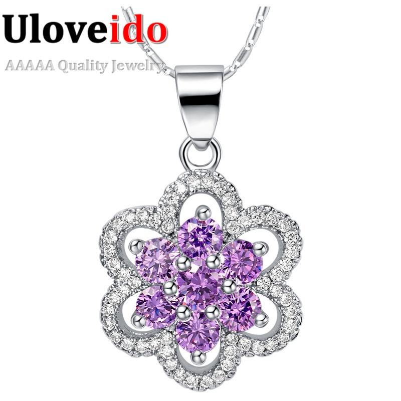 Cubic Zirconia Collar Flower Pendant Vintage Amethyst Pendants Choker Necklace Women Wedding Jewelry Gifts For Women 2016 N1165