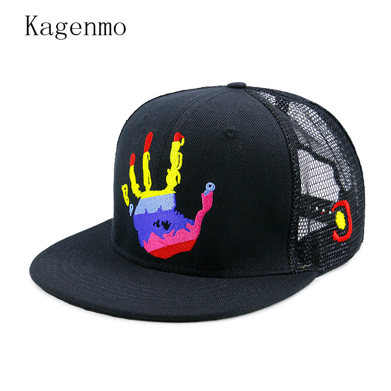 Kagenmo Finger Color Pattern Hip Hop Baseball Cap Cool Man Mesh Dad Hat Cute Female Street Hats Outdoor Breathable Visor