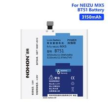 NOHON BT51 3150mAh High Capacity Battery For Meizu MX5 M575M M575U MX 5 Lithium Polymer Rechargeable Phone Batteries Free Tools аккумулятор для телефона craftmann bt51 для meizu mx5 m575 dual sim m575m m575u mx5 dual sim mx5e