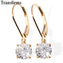 Transgems Brilliance Solid 18K 750 Yellow Gold Beautiful Heart Shaped 2 cttw Lab Grown Moissanite Diamond Earrings For Women