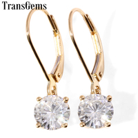 Transgems 14K 585 Yellow Gold Center 2CTW 6.5MM F Color Moissanite Drop Earrings For Women Wedding Gifts Fine Jewelry