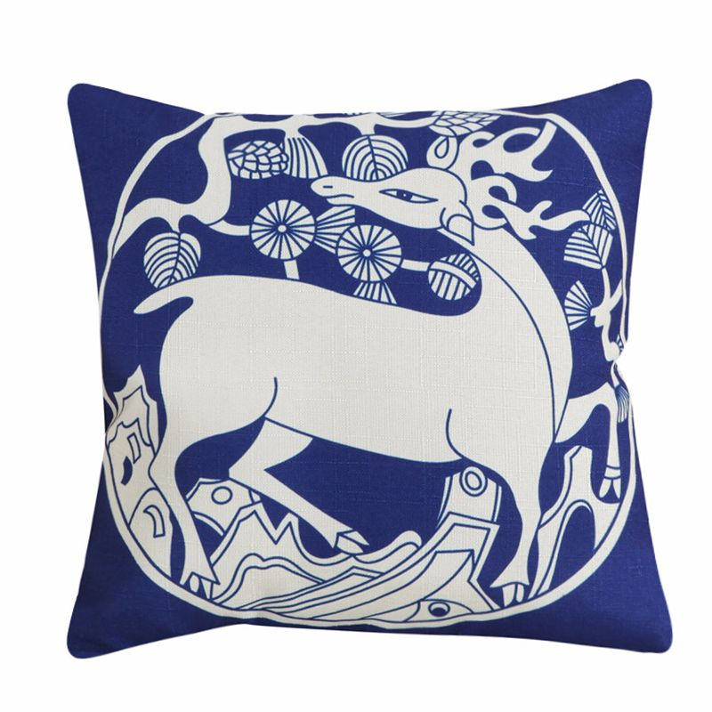 Купить с кэшбэком High Quality Cotton Linen Pillow Cover Chinese Style Decorative Pillows Retro Blue And White Porcelain Florals Pattern Cushion