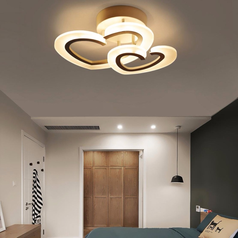 23W childrens modern ceiling lamp creative design double heart-shaped LED ceiling lamp metal acrylic candlestick children room