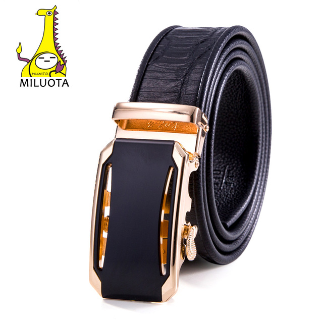 2016 Men`s Leather Ratchet Belt Crocodile Automatic Buckle Belts for Men Brand Strap Fashion Man Luxury MU048