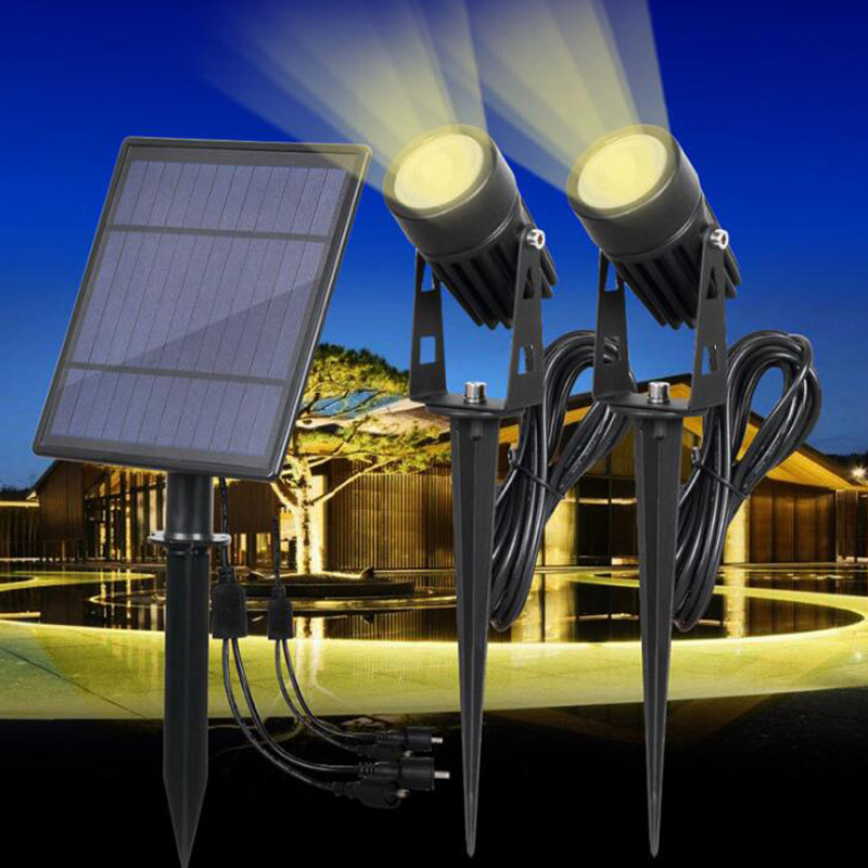 Double Head LED Solar panel Powered LED Lights Spotlight Outdoor Path Spot Lamp Yard Garden Lawn