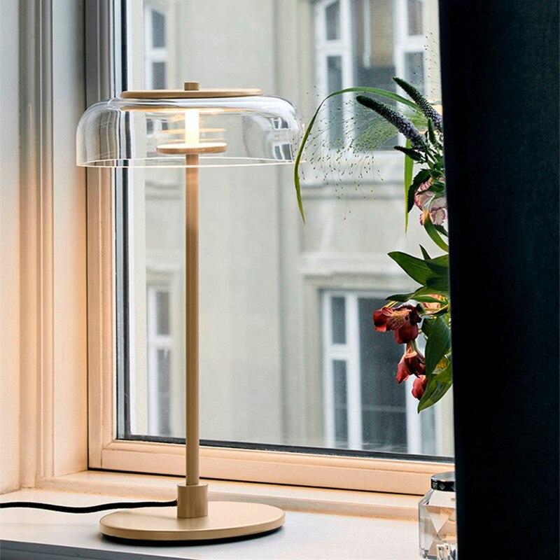 Лофт прикроватной тумбочке Стекло светодио дный настольная лампа творческий дизайн чаши Спальня исследование гостиничном номере прикрова