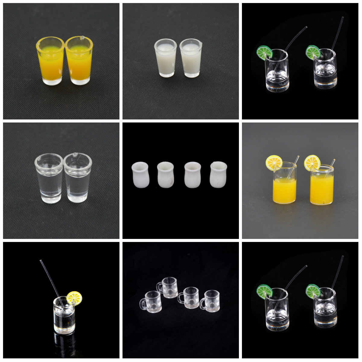 1:12 Dollhouse Mini Resin Mini Lemon Water Cup/Orange Juice/Coffee/Tea Drink Cup  Miniature Dollhouse Accessories Cups Toy Gifts