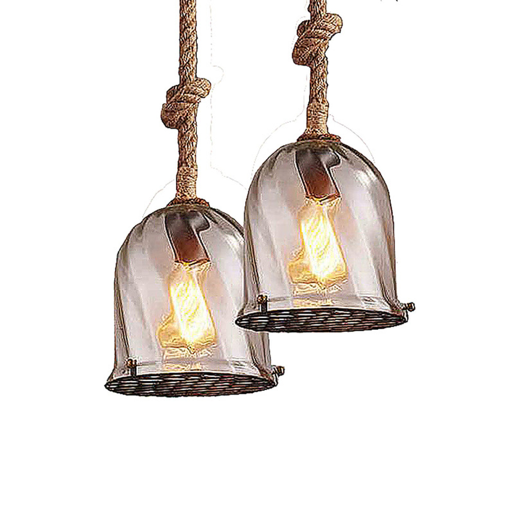 Small fresh nordic restaurant cafe bar American country antique creative hemp rope personalized glass chandelier LU808180 creative nordic american country vintage hemp wrought iron chandelier living room restaurant bar cafe chandelier