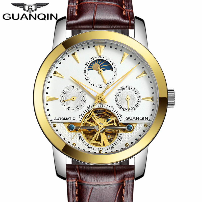 relogios masculino New GUANQIN Luxury Brand Tourbillon Skeleton Male Watches Men Sport Leather Strap Automatic Mechanical Watch luxury brand sport clock roman numerals dial men mechanical hand wind watch skeleton vintage watches leather strap 2017 new