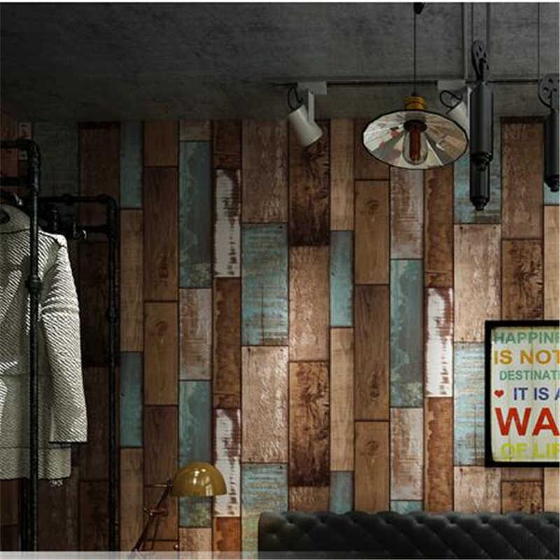 Wellyu Retro nostalgische imitatie hout board behang persoonlijkheid mode kappers kleding dames Koreaanse salon behang