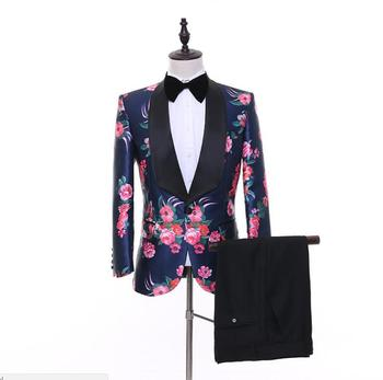 FOLOBE  2020 Autumn Men Floral Print Fashion Casual Suits Latest Coat Pant Designs Wedding Groom Stage Costume Party Suit LS1631