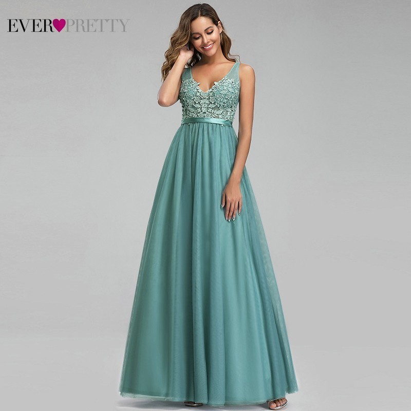 Ever Pretty Dusty Blue Evening Dresses A-Line V-Neck Appliques Sexy Backless Formal Dresses Elegant Party Gowns Robe De Soiree