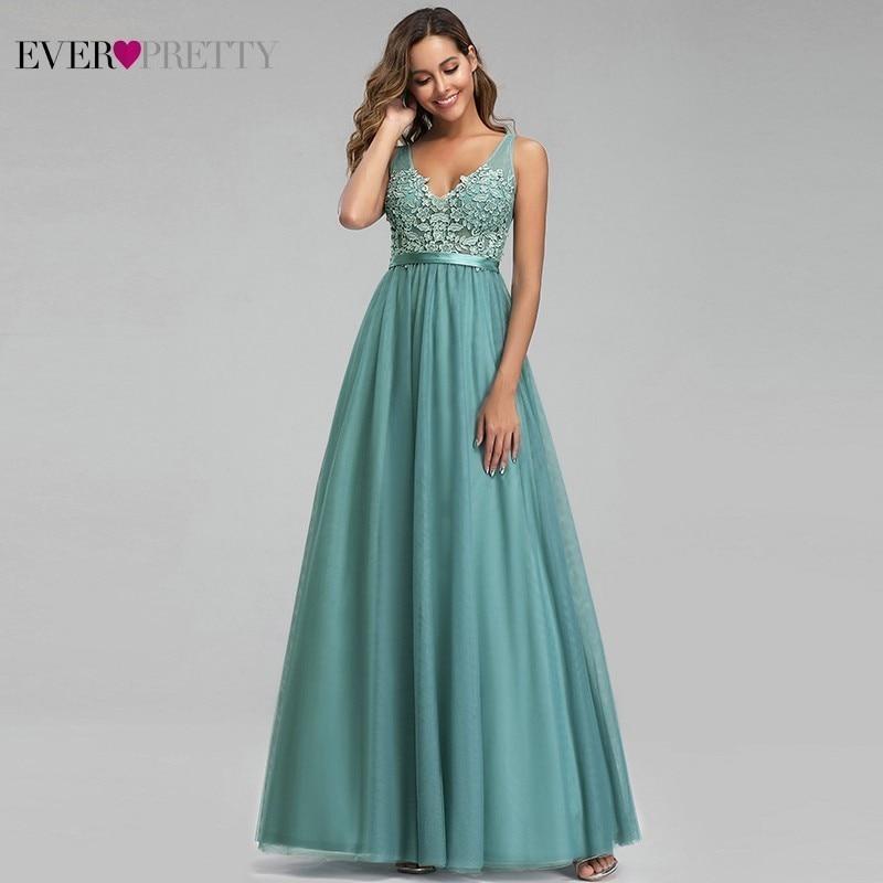 Ever Pretty Dusty Blue Evening Dresses A Line V Neck Appliques Sexy Backless Formal Dresses Elegant