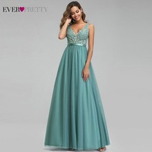 Ever Pretty Dusty Blue Evening Dresses A-Line V-Neck Appliques Sexy Backless Formal Elegant Party Gowns Robe De Soiree