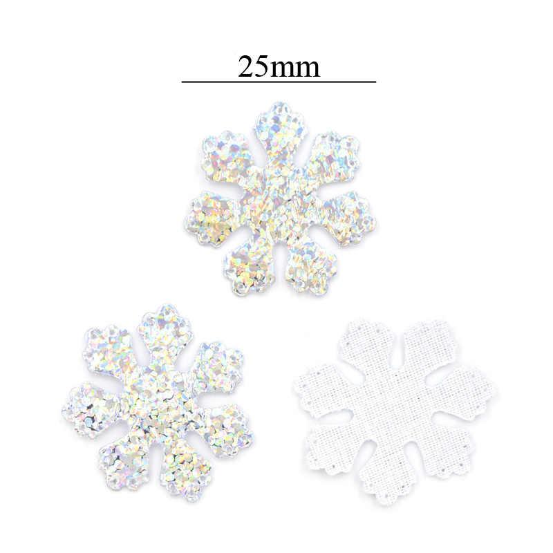 120Pcs Glitter Silver Snowflake ผ้า Appliques เย็บบนคริสต์มาสอุปกรณ์ตกแต่งยอดนิยมเสื้อผ้ากระเป๋าหมวก DIY แพทช์ F09