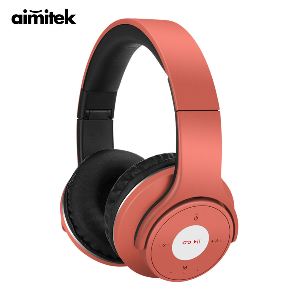 Aimitek 4 in 1 Bluetooth Stereo Headphones Wireless Headsets Wired Earphones MP3 Music Player FM Radio with Mic TF Card Slot sports wireless bluetooth stereo headset with fm tf card mp3 music player headphone