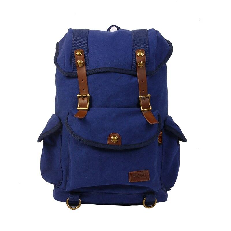 Discovery Adventures Vintage Backpack Retro Canvas Rucksack Satchel Travel Hiking School Outdoor Bag Khaki /Dar blue Free Ship