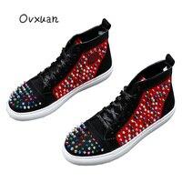 Italian Designer Colorful Rivet Loafers Fashion shoes 2019 Hip Hop Mens Sneakers Party Men Dress Shoes for Men Mocassin Homme