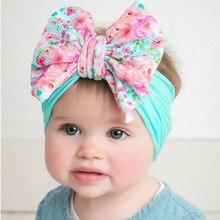 Милые повязки голову-большой бант, мягкие эластичные Широкие нейлоновые повязки для волос, детские повязки на голову для девочек, головные уборы для новорожденных, аксессуары для волос