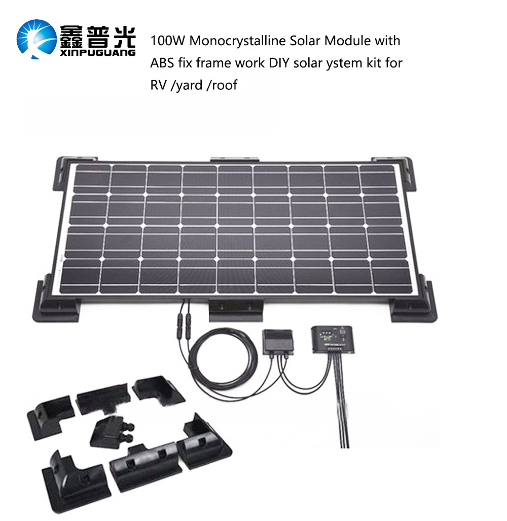 100W Monocrystalline Solar Module by ABS fix frame solar cell factory cheap selling 18V 12V glass solar panel china