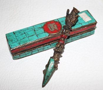 Crafts statue  Turquoise Buddhism Relicious Tool & Hayagriva Phurpa Box Set old halloween