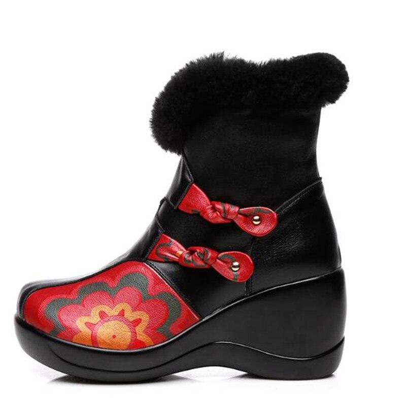 c03eb1e2132e23 Hiver Vache Bottes D'hiver Nouveau Chevalier Sort Cuir Femmes Élégant Noir  Compensées 2019 Mode Chaussures ...