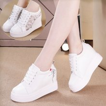 Women Wedge Platform Rubber Brogue Leather Lace Up High heel 7 cm Shoes Pointed Toe Increasing Creepers White Silver Sneakers(China)