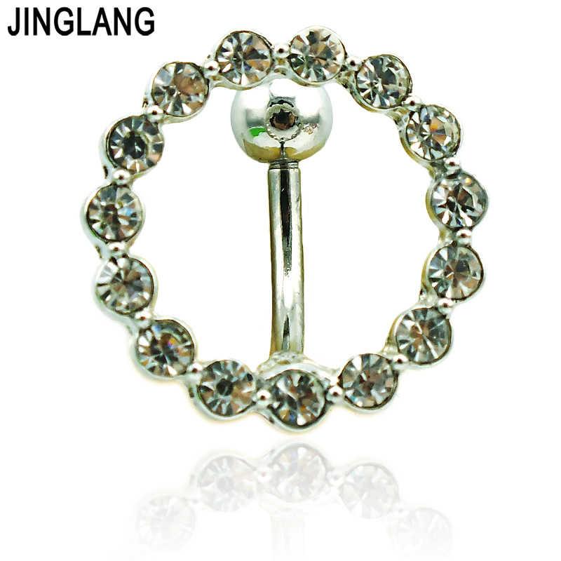 Jinglang جديد وصول البطن زر حلقات الفولاذ الصلب الحدائد الأبيض حجر الراين دائرة حلقات السرة هيئة ثقب المجوهرات