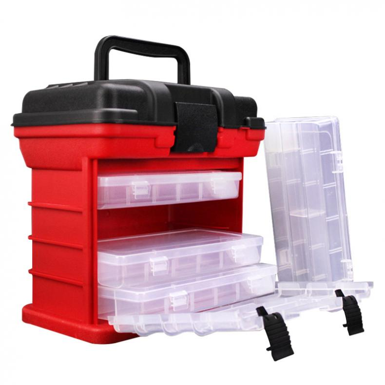 26x15x25cm 4 Layer Portable Carp Fishing Tackle Boxes Fishing Reel Line Lure Tool Storage Box 3 Colors Optional