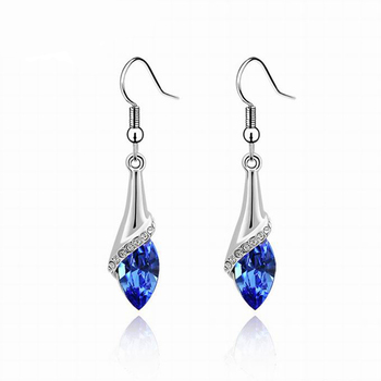 Women's Drop Crystal Earrings Earrings Jewelry Women Jewelry Metal Color: E019 Deep Blue