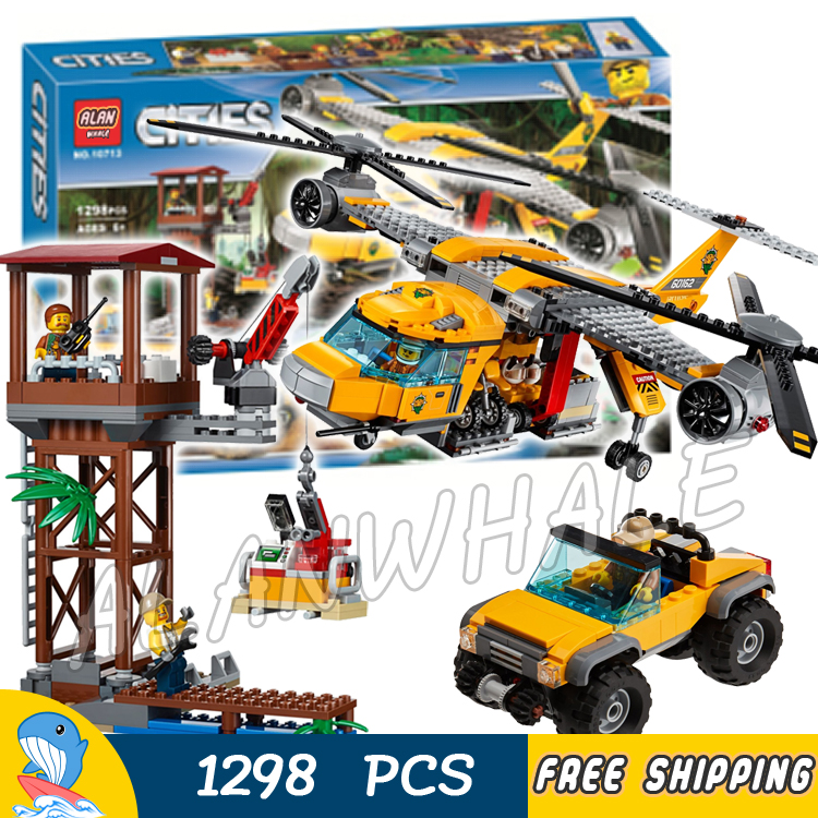 1298pcs City Explorers Jungle Air Drop Helicopter 10713 Model Building Blocks Assemble Children Toys Bricks Compatible With Lego 965pcs city police station model building blocks 02020 assemble bricks children toys movie construction set compatible with lego