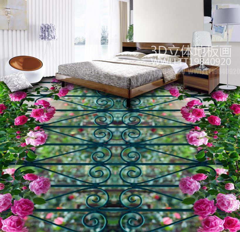 ФОТО 3D flooring tiles custom 3d flooring rose flower waterproof self-adhesive pvc murals 3d flooring for living room