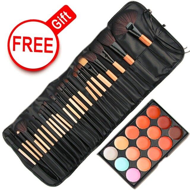 Набор для макияжа 15 Цвет макияжа-Up Concealer Платт базы и 24 шт. Pro Макияж Кисти Косметический набор Губка Puff инструмент