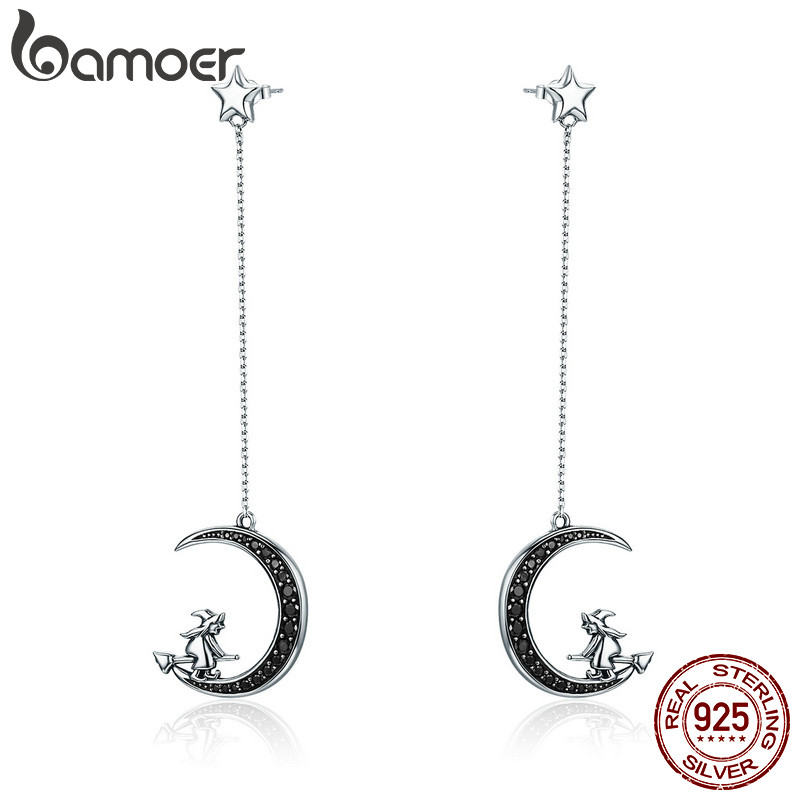 BAMOER Real 925 Sterling Silver Magic Witch in Moon Star Black CZ Long Drop Earrings for Women Sterling Silver Jewelry SCE287 silver long chain hanging earrings moon star shape