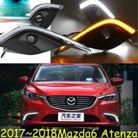 Car bumper headlight for Mazda 6 Mazd6 daytime Light 2017~2018y Atenza fog light LED DRL headlamp for mazda6 fog light
