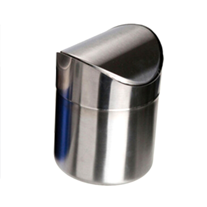 1pc Silever Stainless Steel Trash Bin 15l Mini Car Dustbin Swing