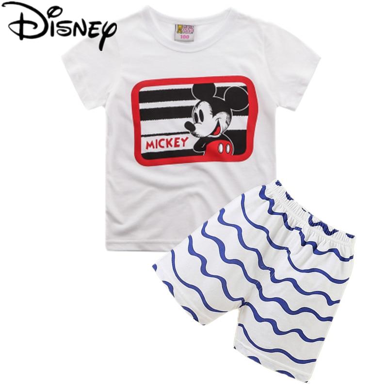 1a308fdbf4b63 Disney garçons filles enfants vêtements définit été marque casual garçons  plaid manches courtes T shirt + shorts enfant vêtements survêtements dans  ...
