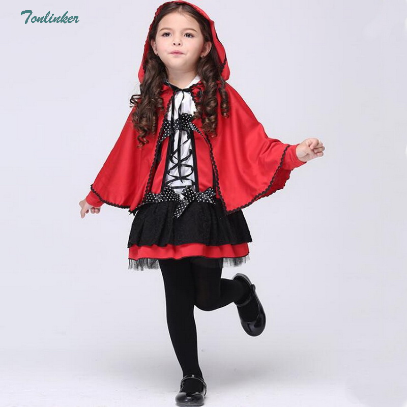 little girl christmas halloween cosplay costumes kids princess little red riding hood cape for child kid girls fancy dress 3 8Yr