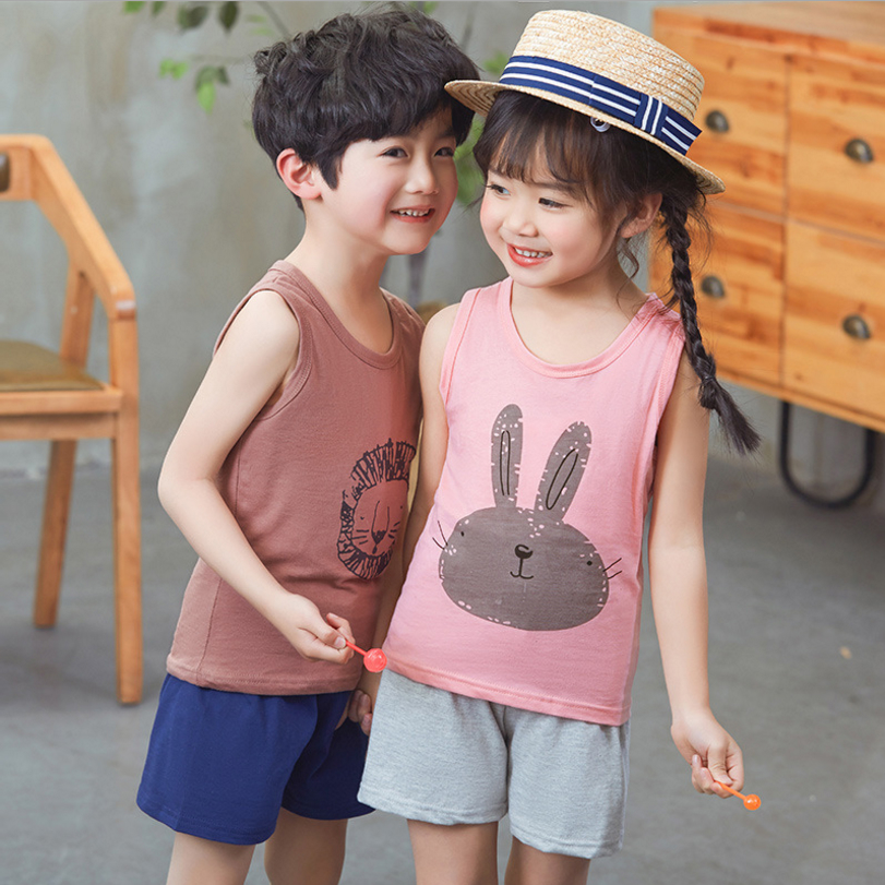 2018 летние Новые детские; комплекты из 2 предметов для мальчиков жилет для девочек + короткие брюки костюм из двух предметов с милый рисунок Д...