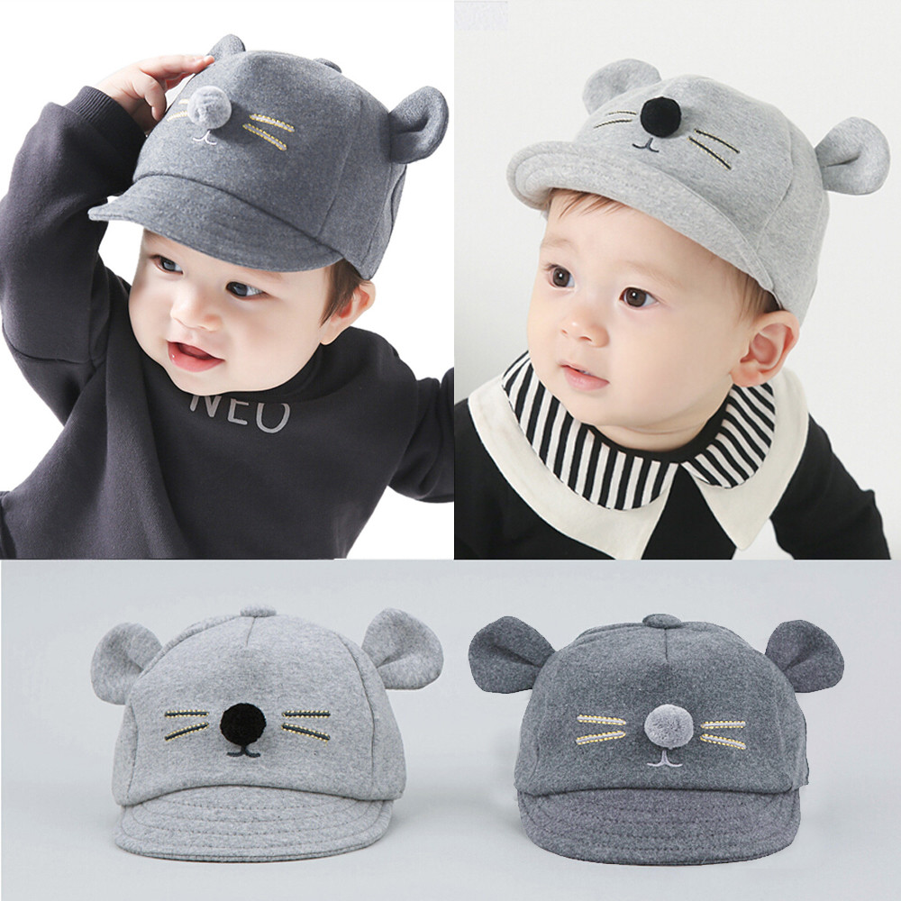 Hat Baby Helmet Baseball-Cap Rabbit-Visor Little-Mouse Bunny Peaked Kids Cotton