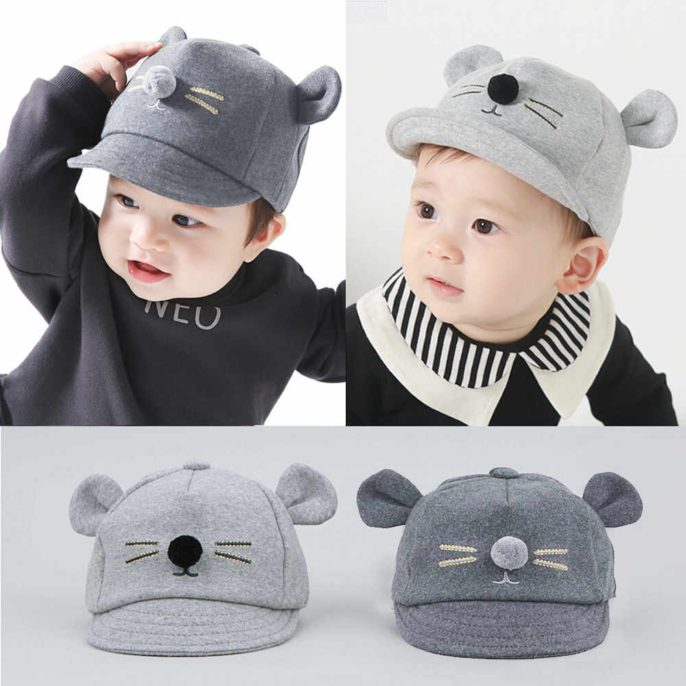 Kids Baby Bunny Rabbit Visor Baseball Cap Cotton Peaked Hat Bunny Little Mouse Baseball Cap Cotton Peaked Hat Baby Helmet *