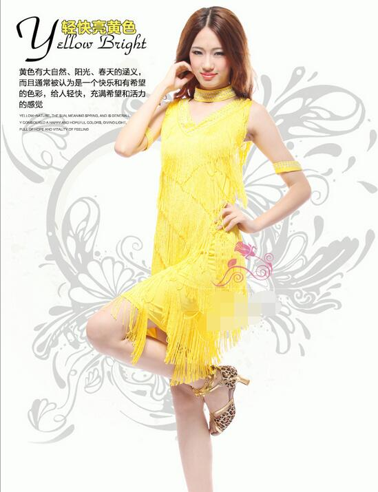 S-3XL Yellow Latin Dance Dress Suits Women/Girls Sexy Fringes long Skirt Ballroom/Tango/Rumba/Latin Dresses Clothings For Dancer