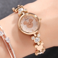 Mickey Mouse Womens Luxury Gift Watches Quartz Crystal Gold Silver Steel Bracelet Ladies Jewelry Wristwatch Clock Box Waterproof