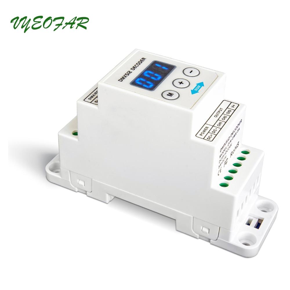 New LTECH DIN-DMX-5A DIN Rail DMX Decoder 3CH DMX-PWM Decoder;DC5-24V input;5A*3CH Max 15A output DMX512 Controller цена