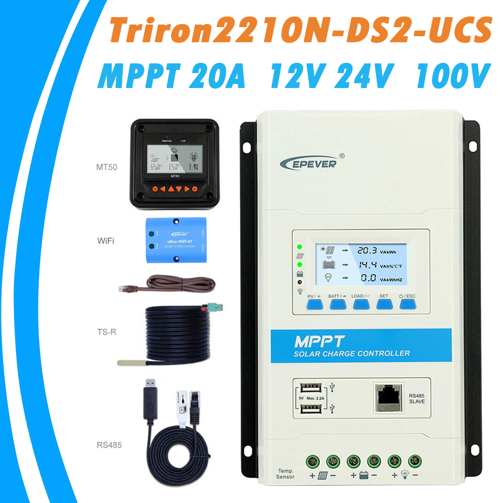 EPever MPPT 20A Charge Controller 12V 24V Backlight LCD Max 100V Solar Panel Controller Dual USB
