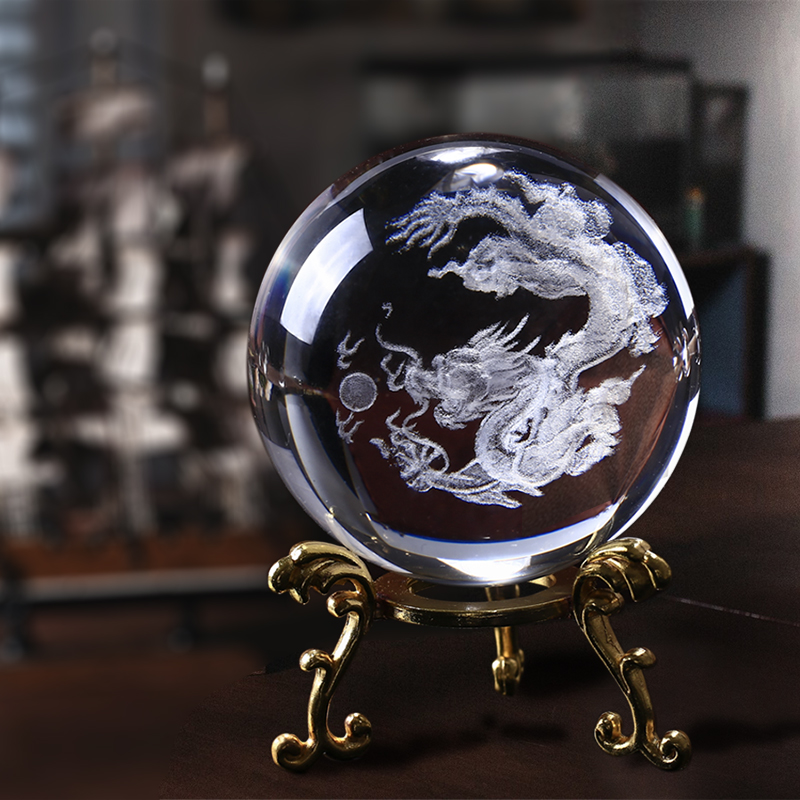 60mm 3D lasergraverad K9 Crystal Dragon Balls Ren Clear Glass Fengshui Dragon Balls Paperweight för Home Buddhism Decoration