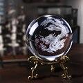 60mm 3D Laser Gravierte K9 Kristall Dragon Balls Reine Klare Glas Fengshui Dragon Balls Briefbeschwerer für Home Buddhismus Dekoration-in Figuren & Miniaturen aus Heim und Garten bei