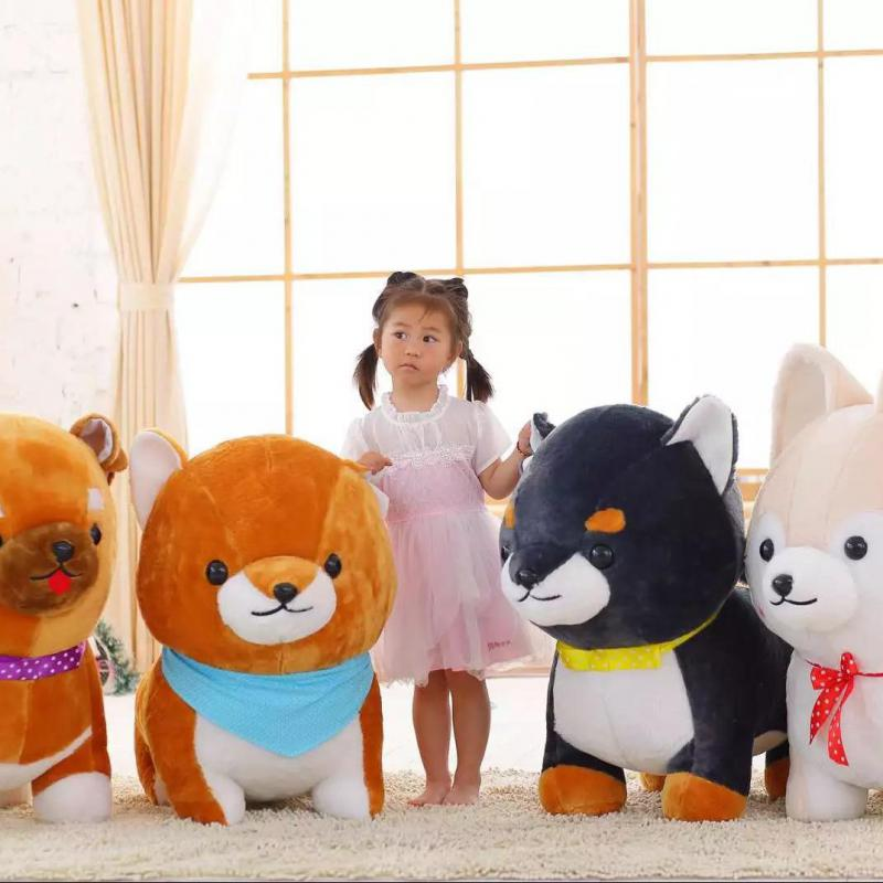 Nouveau grand 1 pièces 60 cm mignon Amuse chien 3 frères jouets en peluche Shiba Inu jouet de haute qualité doux en peluche fidèle animal Kawaii chiot enfants cadeaux