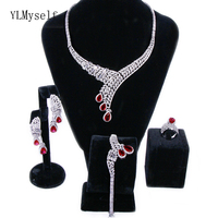 Luxury 4pcs wedding party jewelry sets Big red water drop crystal Necklace+Bracelet+earrings+ring Large jewellery set for bridal